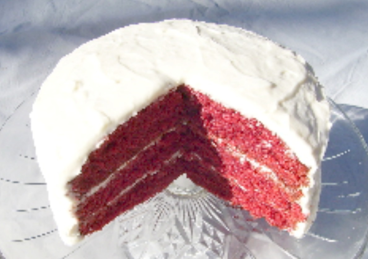 Red Velvet Cake with reduced colorant.. same unique, delicious taste