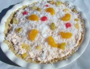 Fruit Cocktail Angel Pie with coconut.
