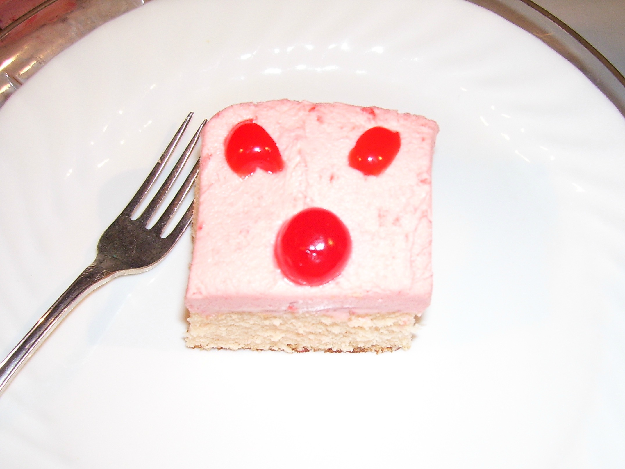 Maraschino Cherry Cake with Cream Cheese Frosting square.