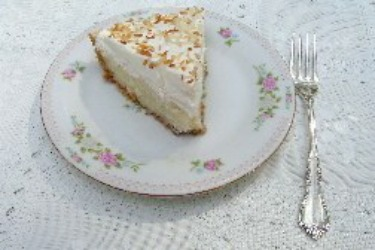 No Bake Coconut Cream Pie with luscious topping and toasted coconut.