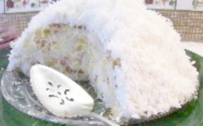 No Bake Punch Bowl Cake with coconut and pineapple.