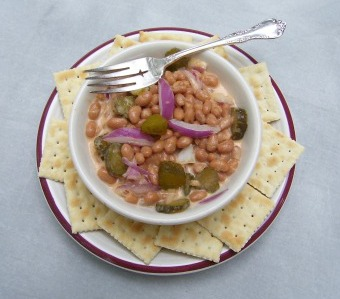 Pork and Bean Salad served with crackers