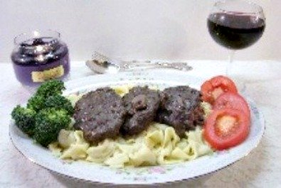 Beef Burgundy made with ground beef or beef tips.