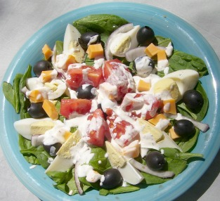 Cobb Salad without the Chicken and Ham for a lighter meal.