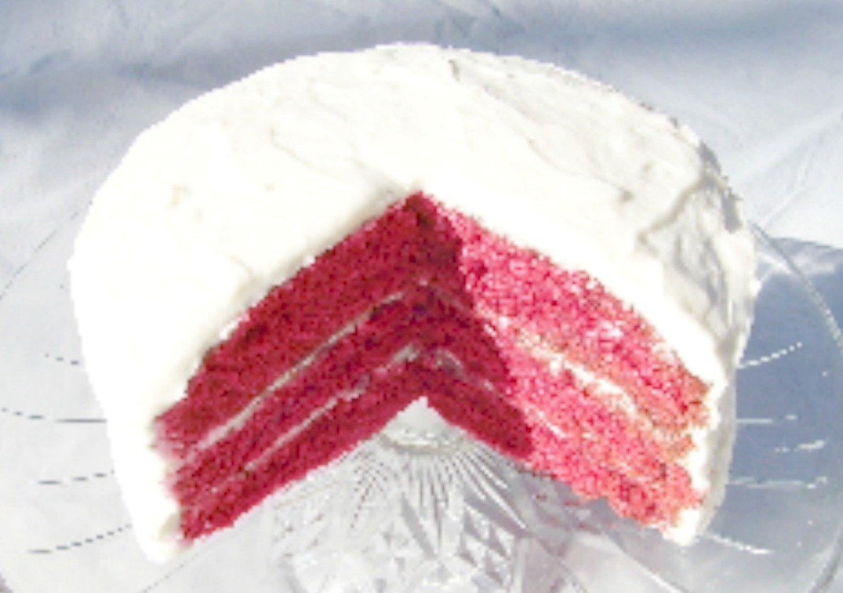Red Velvet Cake with reduced colorant.. same unique, delicious taste