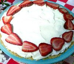 Strawberry Yogurt Pie with Strawberries and Homemade Whipped Cream